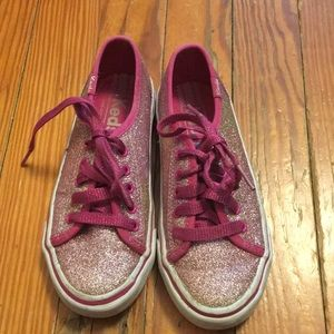 Girls pink glitter Keds. Good used condition.